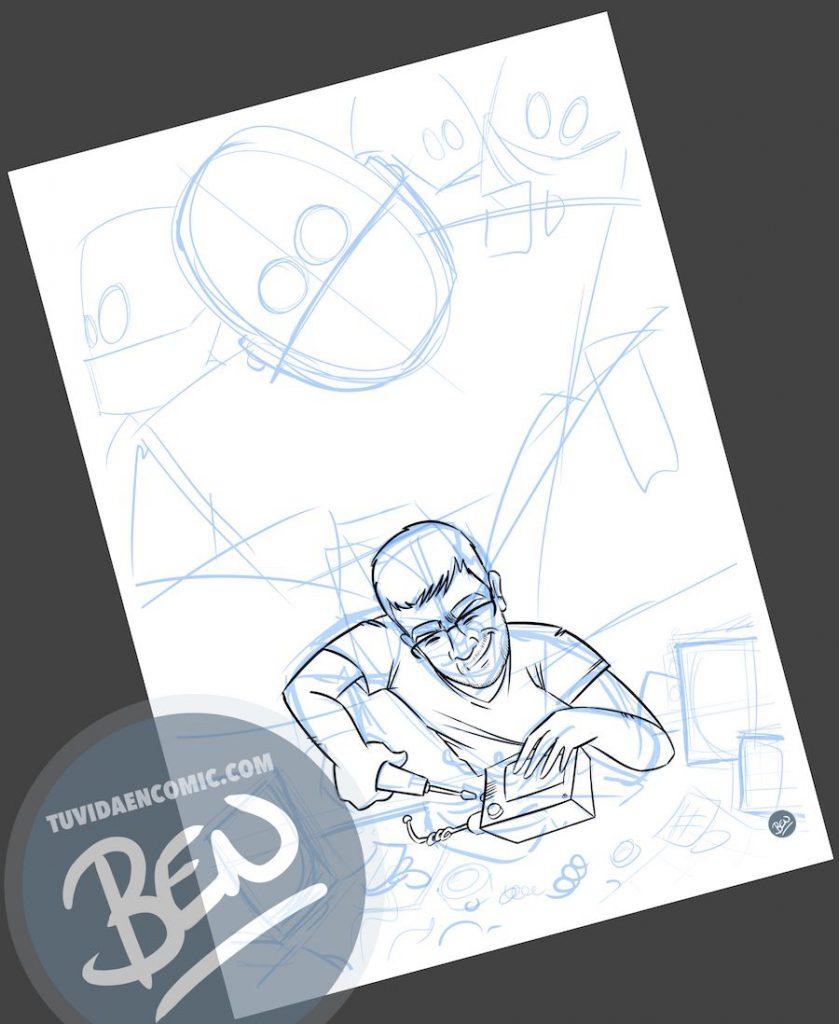Ilustración para quien pasa la vida entre cables y circuitos - caricatura personalizada - www.tuvidaencomic.com - Tu Vida en Cómic - BEN - Regalo original - 2