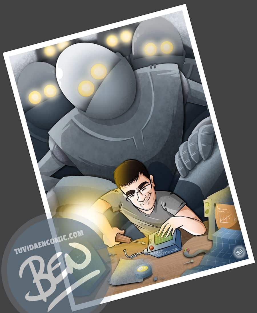 Ilustración para quien pasa la vida entre cables y circuitos - caricatura personalizada - www.tuvidaencomic.com - Tu Vida en Cómic - BEN - Regalo original - 5