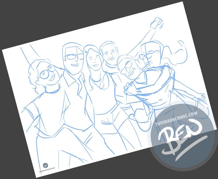 Caricatura de amigos - 9 meses para la boda - Ilustración grupal - tuvidaencomic.com - Tu Vida en Cómic - Regalo Personalizado - BEN - 1