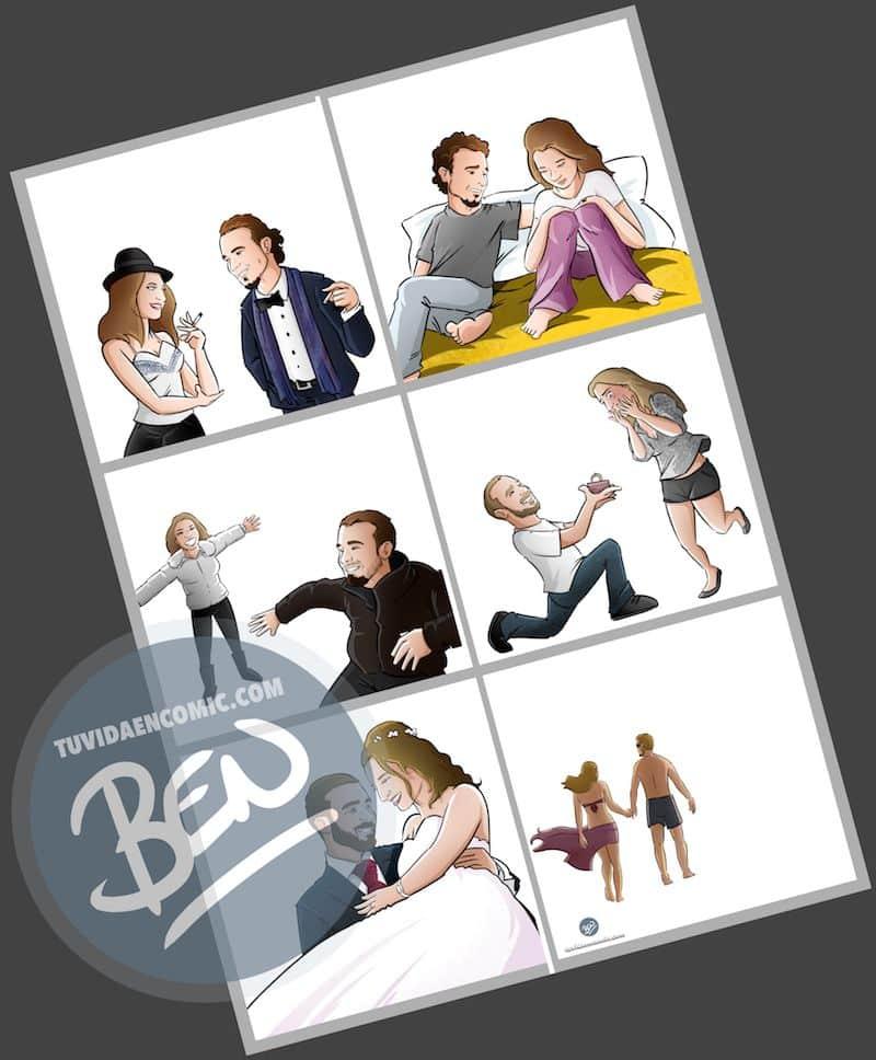 """Composición de ilustraciones """"Así nos conocimos"""" - Regalo romántico personalizado - www.tuvidaencomic.com - Tu Vida en Cómic - BEN - 3"""
