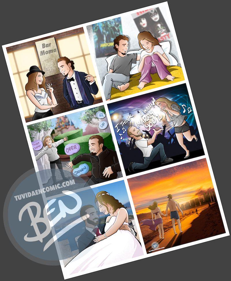 """Composición de ilustraciones """"Así nos conocimos"""" - Regalo romántico personalizado - www.tuvidaencomic.com - Tu Vida en Cómic - BEN - 4"""