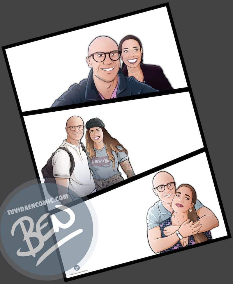 """Composición de ilustraciones """"Siempre nos quedara Londres"""" - Regalo romántico personalizado - Tu Vida en Cómic - www.tuvidaencomic.com - BEN - Regalos Personalizados - 3"""
