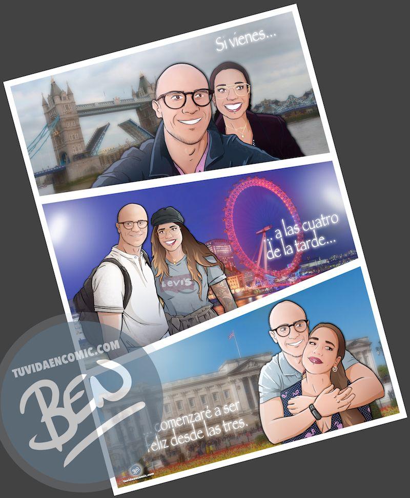 """Composición de ilustraciones """"Siempre nos quedara Londres"""" - Regalo romántico personalizado - Tu Vida en Cómic - www.tuvidaencomic.com - BEN - Regalos Personalizados - 4"""