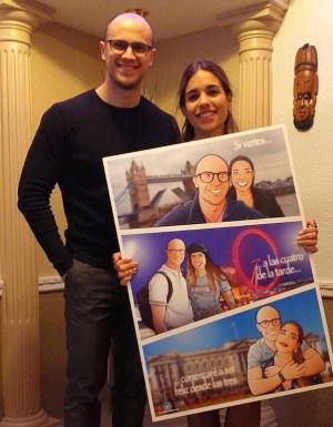 """Composición de ilustraciones """"Siempre nos quedara Londres"""" - Regalo romántico personalizado - Tu Vida en Cómic - www.tuvidaencomic.com - BEN - Regalos Personalizados - TESTIMONIO"""