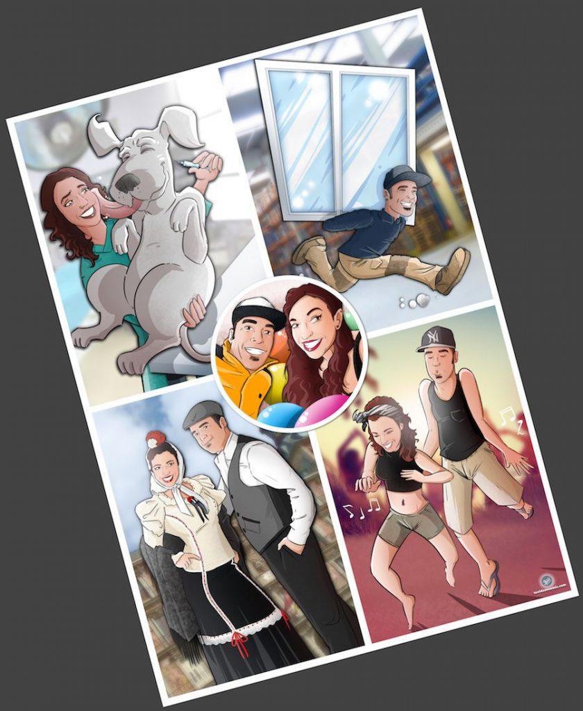 """Composición de ilustraciones """"Cosas que nos unieron"""" - Regalo romántico personalizado - regalos personalizados - www.tuvidaencomic.com - BEN - Caricaturas personalizadas - 5"""