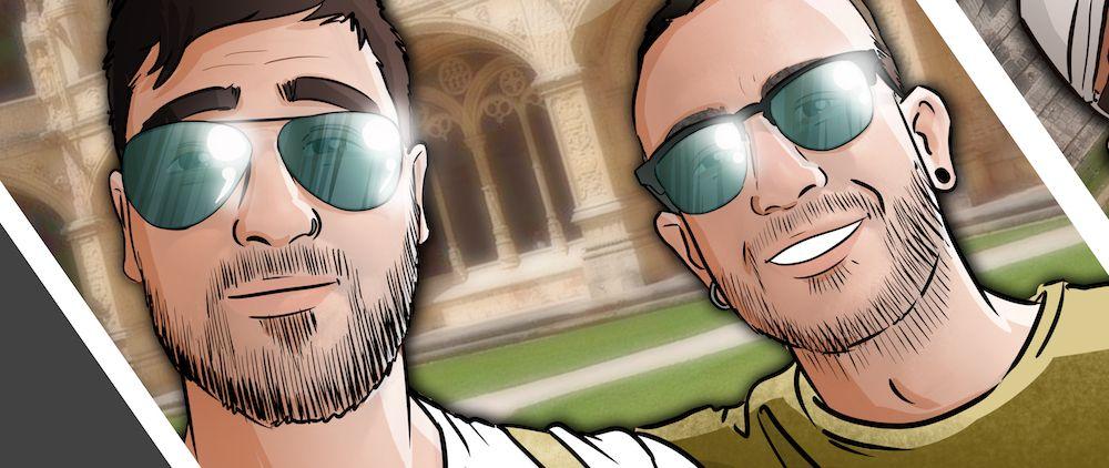 """Composición de ilustraciones """"Estos son nuestros recuerdos"""" - Regalo personalizado - www.tuvidaencomic.com - Caricaturas Personalizadas - BEN - 0A"""