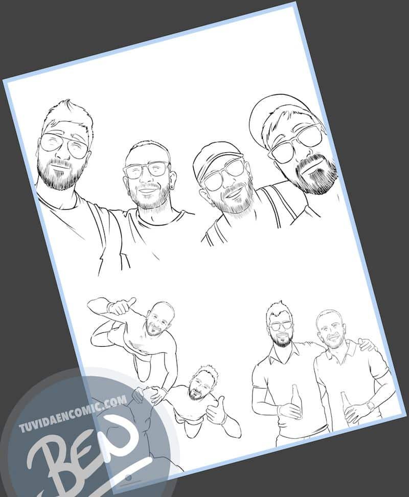 """Composición de ilustraciones """"Estos son nuestros recuerdos"""" - Regalo personalizado - www.tuvidaencomic.com - Caricaturas Personalizadas - BEN - 1"""