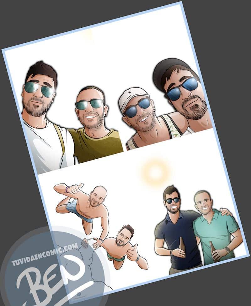 """Composición de ilustraciones """"Estos son nuestros recuerdos"""" - Regalo personalizado - www.tuvidaencomic.com - Caricaturas Personalizadas - BEN - 2"""