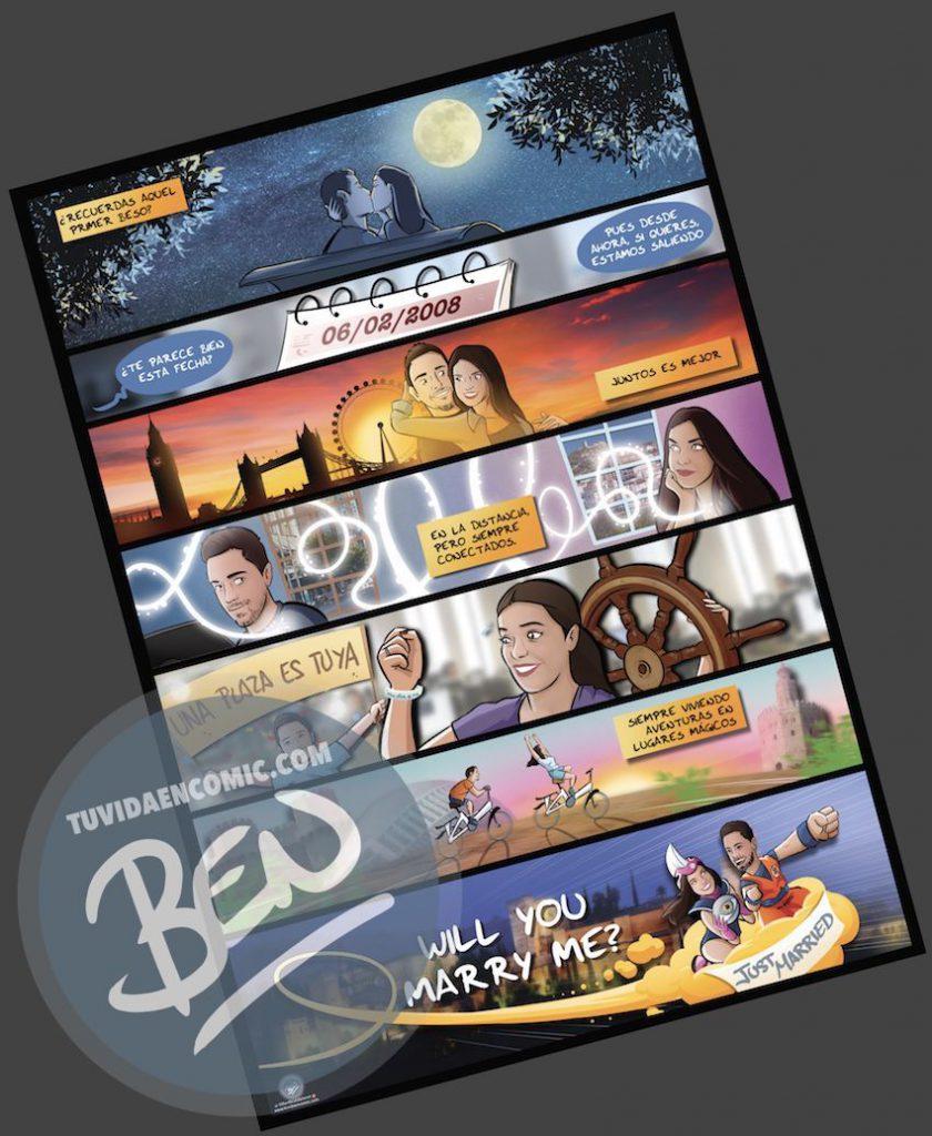 """Cómic personalizado - """"Regalo de boda con Nuestra historia de Amor en viñetas"""" - www.tuvidaencomic.com - Regalos personalizados - Bodas personalizadas - Bodas originales - Tu Vida en Cómic - a4"""