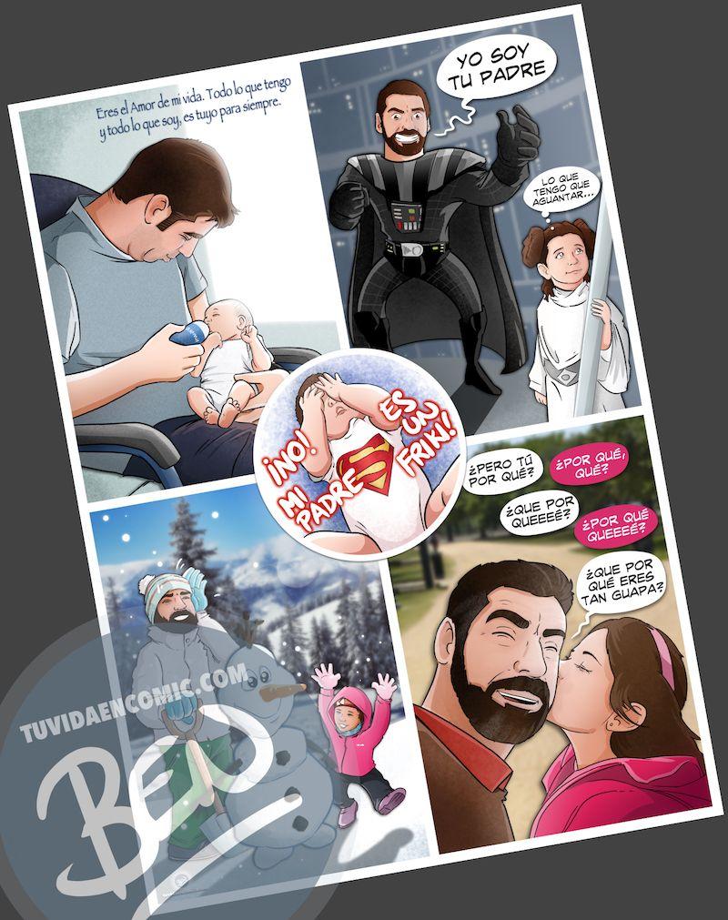 Regalo del día del Padre personalizado - Momentos de Padre e hija - Composición de ilustraciones - Tu Vida en Cómic - www.tuvidaencomic.com - BEN - Cómic Personalizado - Caricaturas personalizadas - 4