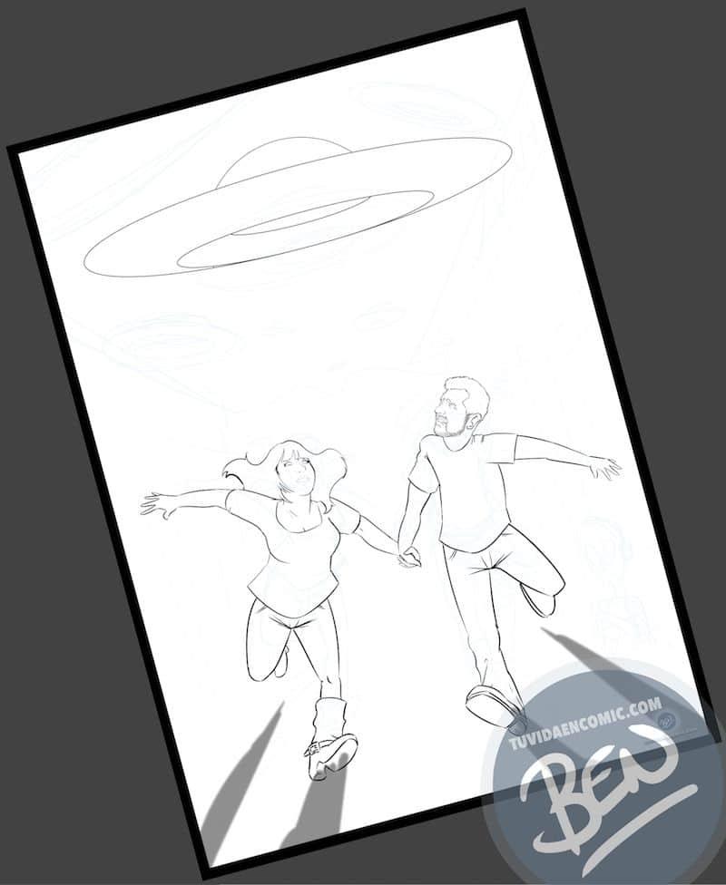 Ilustración Regalo personalizado - Mirando al cielo - OVNIS - Caricatura Personalizada - www.tuvidaencomic.com - Tu Vida en Cómic - BEN - Regalos originales - OVNIS - 2