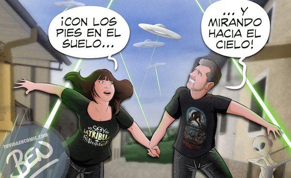 Ilustración Regalo personalizado - Mirando al cielo - OVNIS - Caricatura Personalizada - www.tuvidaencomic.com - Tu Vida en Cómic - BEN - Regalos originales - OVNIS - B