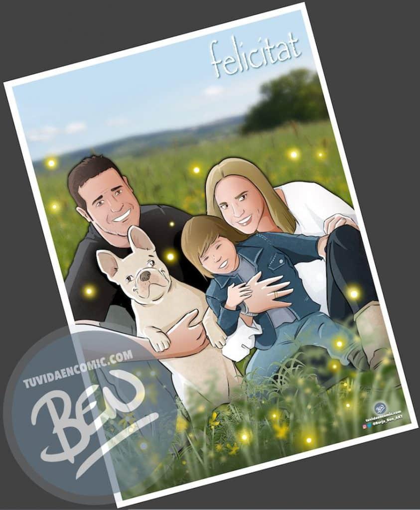 Regalo de cumpleaños personalizado - Ilustraciones de familia - www.tuvidaencomic.com - Tu Vida en Cómic - BEN - Regalos personalizados - Regalo del día del padre - Caricatura personalizada - 2