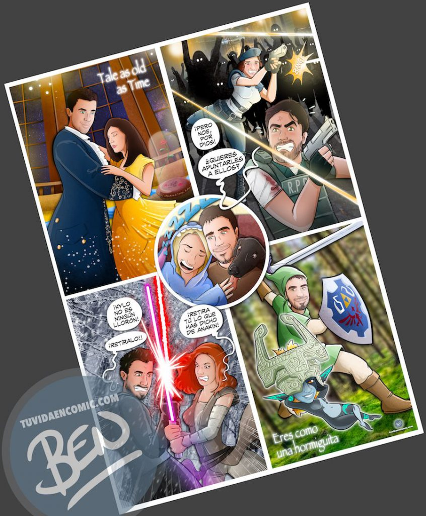 Regalo de cumpleaños personalizado - Por eso somos Pareja - Composición de ilustraciones - www.tuvidaencomic.com - Tu Vida en Cómic - Caricaturas Personalizadas - BEN - Regalos originales - 4