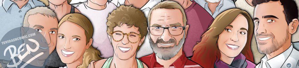 """Caricatura familiar - """"Que no falte nadie en nuestra foto de familia"""" - Ilustración grupal - www.tuvidaencomic.com - Tu Vida en Cómic - Borja_Ben_ART - BEN - Regalo personalizado - caricaturas personalizadas - 0a"""