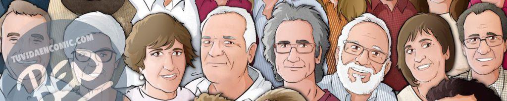 """Caricatura familiar - """"Que no falte nadie en nuestra foto de familia"""" - Ilustración grupal - www.tuvidaencomic.com - Tu Vida en Cómic - Borja_Ben_ART - BEN - Regalo personalizado - caricaturas personalizadas - 0b"""