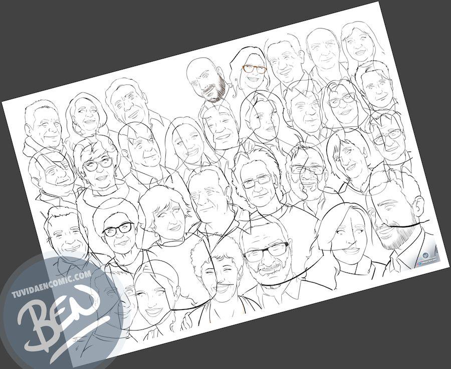 """Caricatura familiar - """"Que no falte nadie en nuestra foto de familia"""" - Ilustración grupal - www.tuvidaencomic.com - Tu Vida en Cómic - Borja_Ben_ART - BEN - Regalo personalizado - caricaturas personalizadas - 1"""