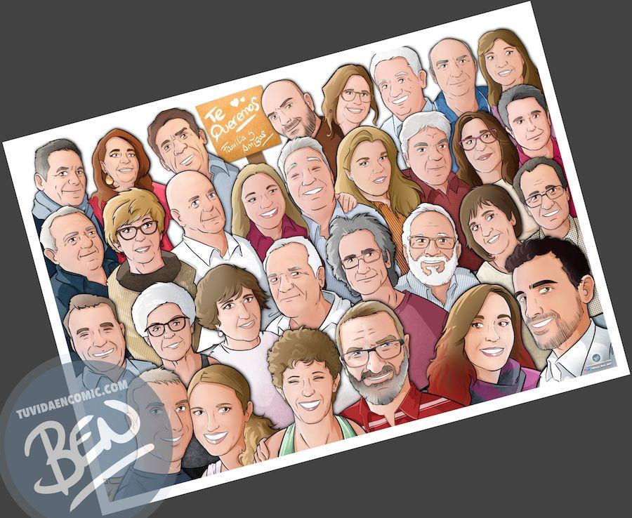 """Caricatura familiar - """"Que no falte nadie en nuestra foto de familia"""" - Ilustración grupal - www.tuvidaencomic.com - Tu Vida en Cómic - Borja_Ben_ART - BEN - Regalo personalizado - caricaturas personalizadas - 2"""