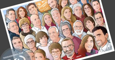 """Caricatura familiar - """"Que no falte nadie en nuestra foto de familia"""" - Ilustración grupal - www.tuvidaencomic.com - Tu Vida en Cómic - Borja_Ben_ART - BEN - Regalo personalizado - caricaturas personalizadas - 3"""