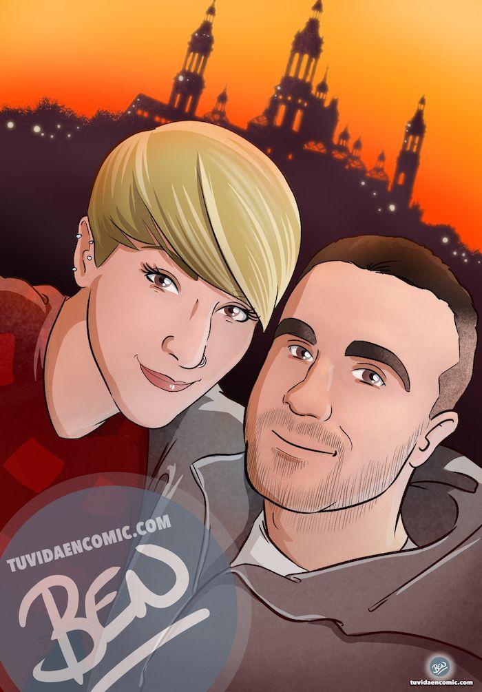 Composición de ilustraciones Viajando juntos – Regalo romántico personalizado - Tu Vida en Cómic - www.tuvidaencomic.com - Borja_Ben_ART - caricaturas personalizadas - 3