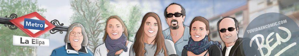 Ilustración de familia - Todos con el abuelo - Caricatura familiar - Regalo personalizado - Tu Vida en Cómic - tuvidaencomic.com - 5