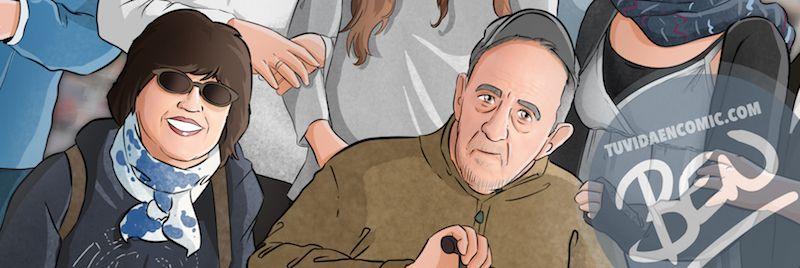 Ilustración de familia - Todos con el abuelo - Caricatura familiar - Regalo personalizado - Tu Vida en Cómic - tuvidaencomic.com - 6