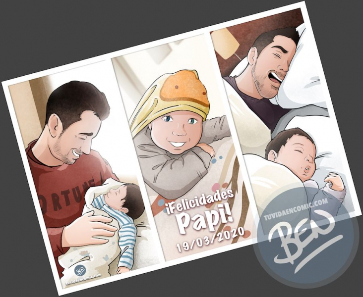 Regalo-del-día-del-Padre-personalizado-Momentos-de-Padre-e-hijo-Composición-de-ilustraciones-www.tuvidaencomic.com-Tu-Vida-en-Cómic-BEN-Caricaturas-personalizadas-Regalos-Personalizados-3