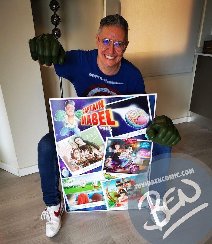 """Cómic personalizado - """"Captain Mabel"""" - Regalo de cumpleaños personalizado - www.tuvidaencomic.com - Caricaturas - Borja_Ben_ART - Testimonio 1"""