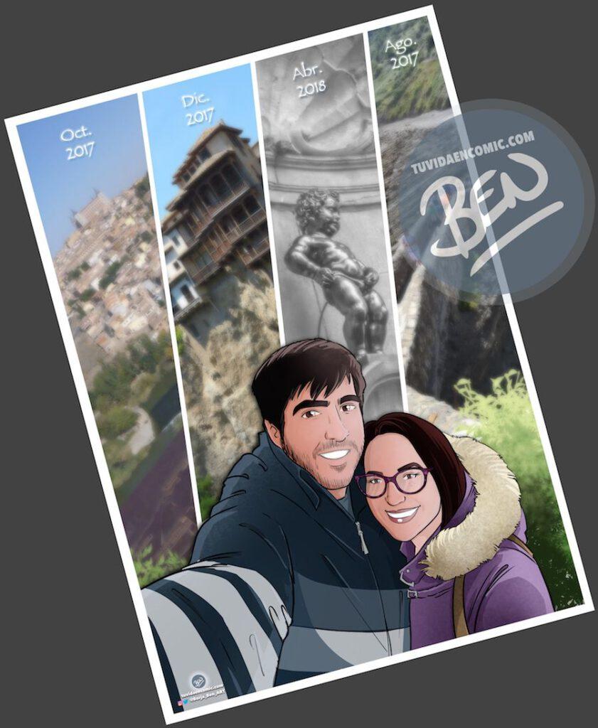 """Composición de ilustraciones """"Así comenzó nuestra vida juntos"""" – Regalo de aniversario personalizado - Tu Vida en Cómic - www.tuvidaencomic.com - Caricaturas personalizadas . Cómics Personalizados - 2"""