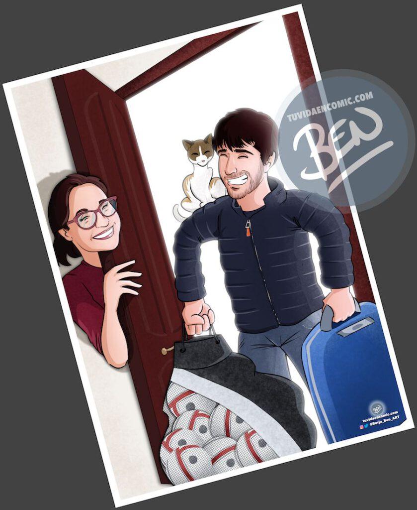 """Composición de ilustraciones """"Así comenzó nuestra vida juntos"""" – Regalo de aniversario personalizado - Tu Vida en Cómic - www.tuvidaencomic.com - Caricaturas personalizadas . Cómics Personalizados - 3"""