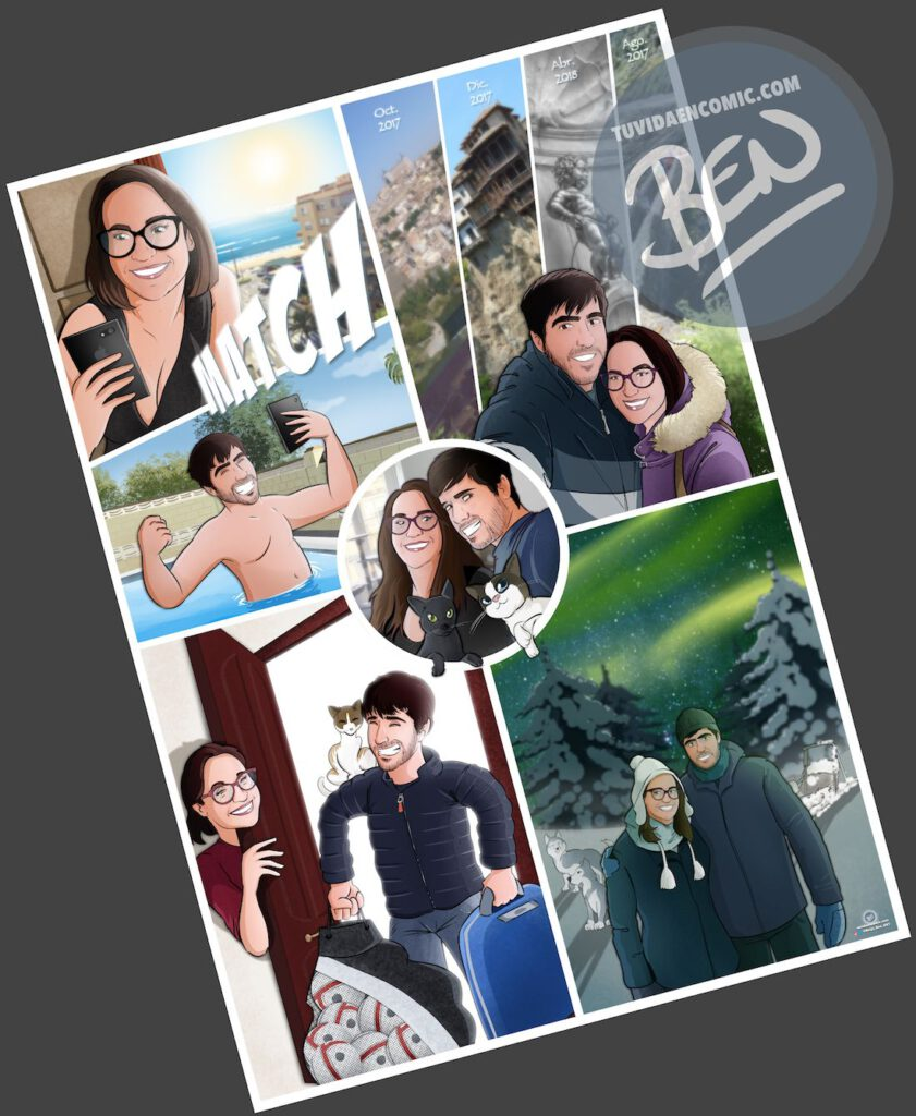 """Composición de ilustraciones """"Así comenzó nuestra vida juntos"""" – Regalo de aniversario personalizado - Tu Vida en Cómic - www.tuvidaencomic.com - Caricaturas personalizadas . Cómics Personalizados - 6"""
