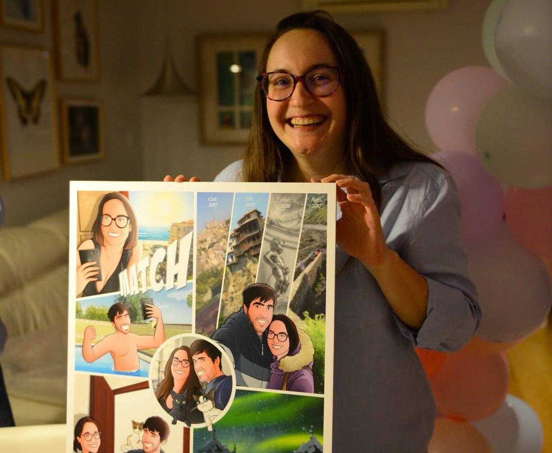 """Composición de ilustraciones """"Así comenzó nuestra vida juntos"""" – Regalo de aniversario personalizado - Tu Vida en Cómic - Cómics Personalizados - Testimonio Portada"""