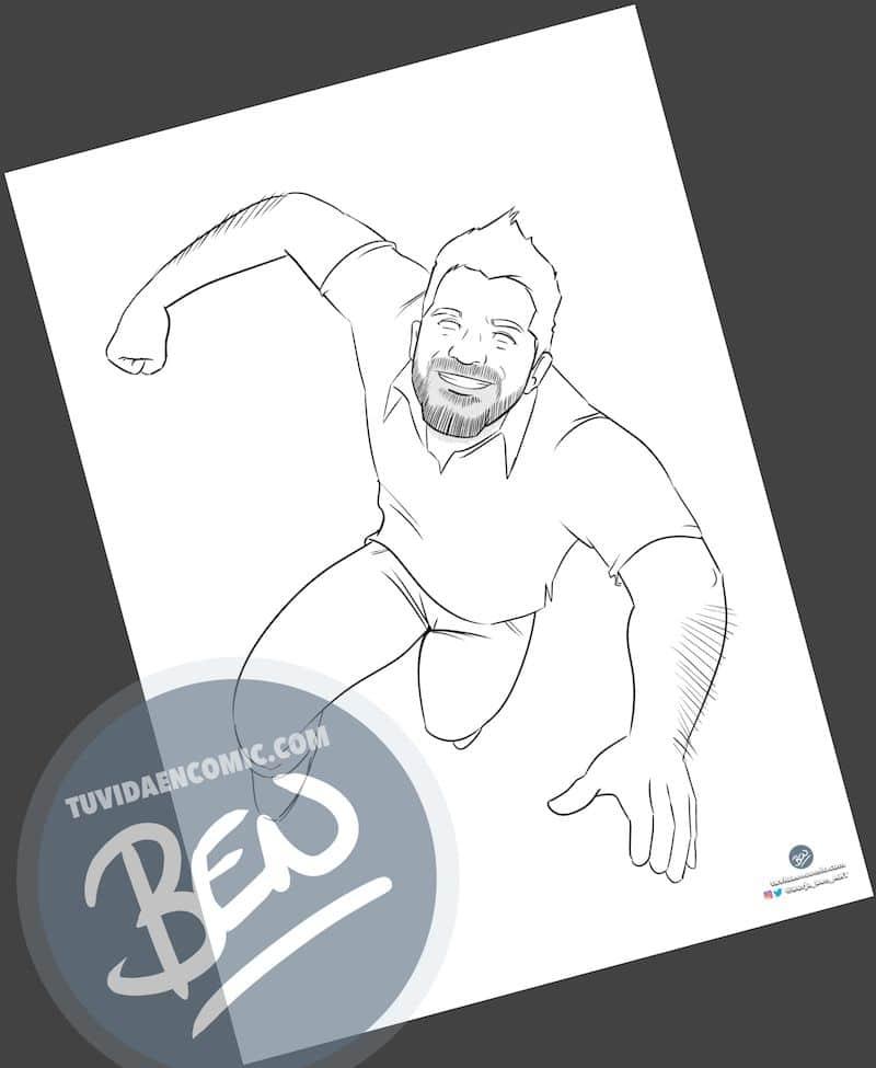 """Ilustración Regalo de cumpleaños personalizado – """"Super Gestor"""" - Caricatura Personalizada - tuvidaencomic.com - Tu Vida en Cómic - Borja_Ben_ART - 1"""