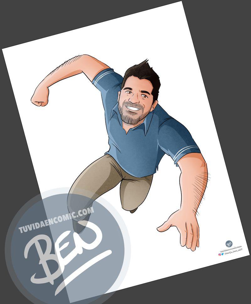 """Ilustración Regalo de cumpleaños personalizado – """"Super Gestor"""" - Caricatura Personalizada - tuvidaencomic.com - Tu Vida en Cómic - Borja_Ben_ART - 2"""