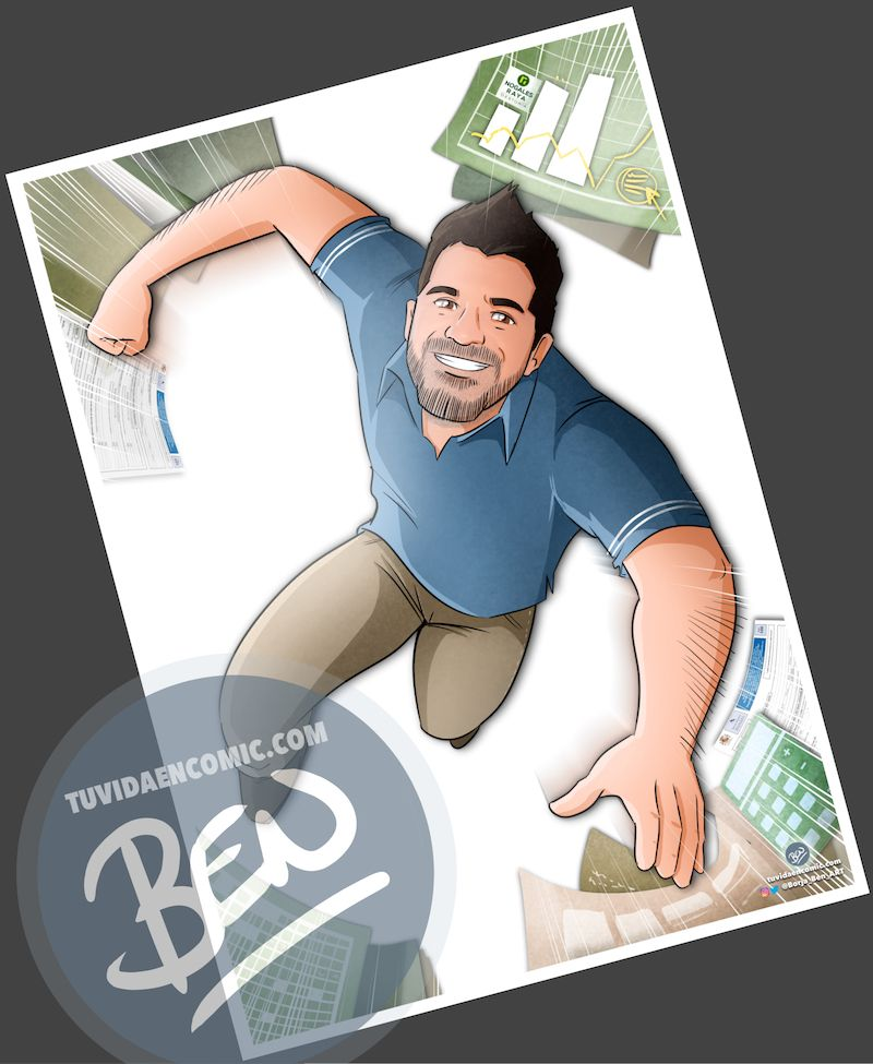 """Ilustración Regalo de cumpleaños personalizado – """"Super Gestor"""" - Caricatura Personalizada - tuvidaencomic.com - Tu Vida en Cómic - Borja_Ben_ART - 3"""