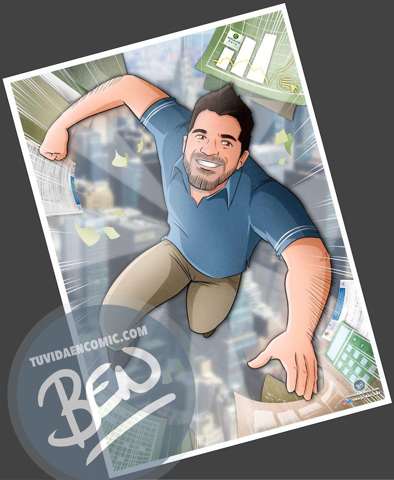 """Ilustración Regalo de cumpleaños personalizado – """"Super Gestor"""" - Caricatura Personalizada - tuvidaencomic.com - Tu Vida en Cómic - Borja_Ben_ART - 4"""