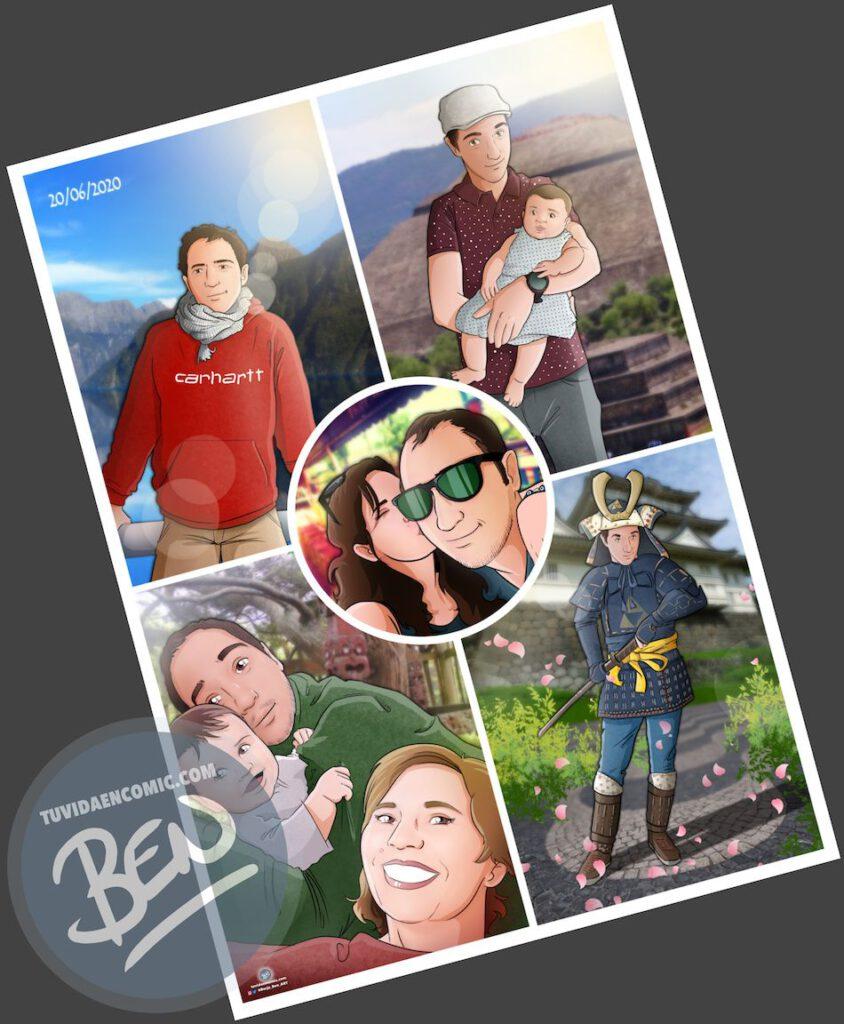 """Composición de ilustraciones """"Escenas de familia"""" – Regalo de cumpleaños personalizado – regalo del día del Padre personalizado - www.tuvidaencomic.com - Tu Vida en Cómic"""