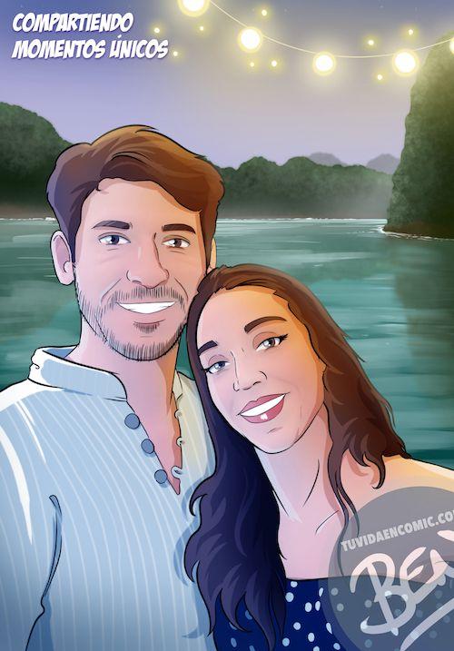 """Composición de ilustraciones """"Momentos de pareja"""" – Regalo romántico personalizado – Caricatura personalizada - Borja_Ben_ART - Tu Vida en Cómic - 2"""