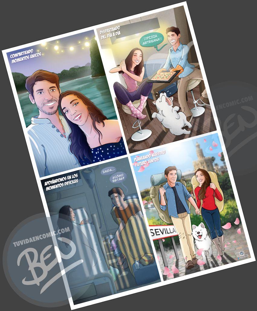 """Composición de ilustraciones """"Momentos de pareja"""" – Regalo romántico personalizado – Caricatura personalizada - Borja_Ben_ART - Tu Vida en Cómic - 5"""