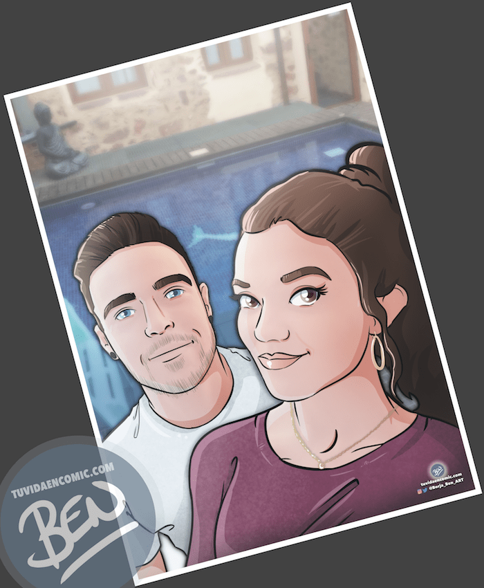 """Composición de ilustraciones """"Así comenzó nuestra historia"""" – Regalo de aniversario personalizado - Tu Vida en Cómic - Regalo romántico - caricatura de pareja - 4"""