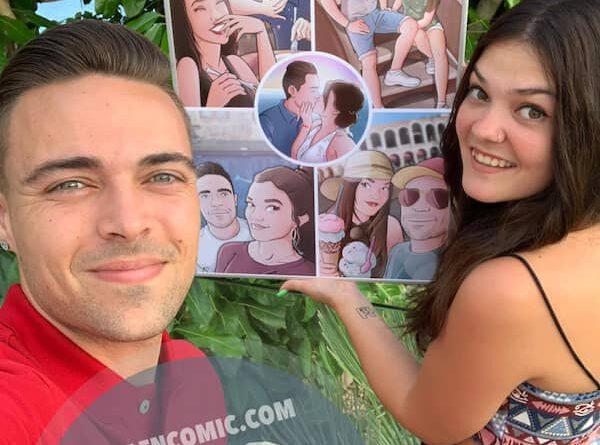 """Composición de ilustraciones """"Así comenzó nuestra historia"""" – Regalo de aniversario personalizado - Tu Vida en Cómic - Regalo romántico - caricatura de pareja - TESTIMONIO"""