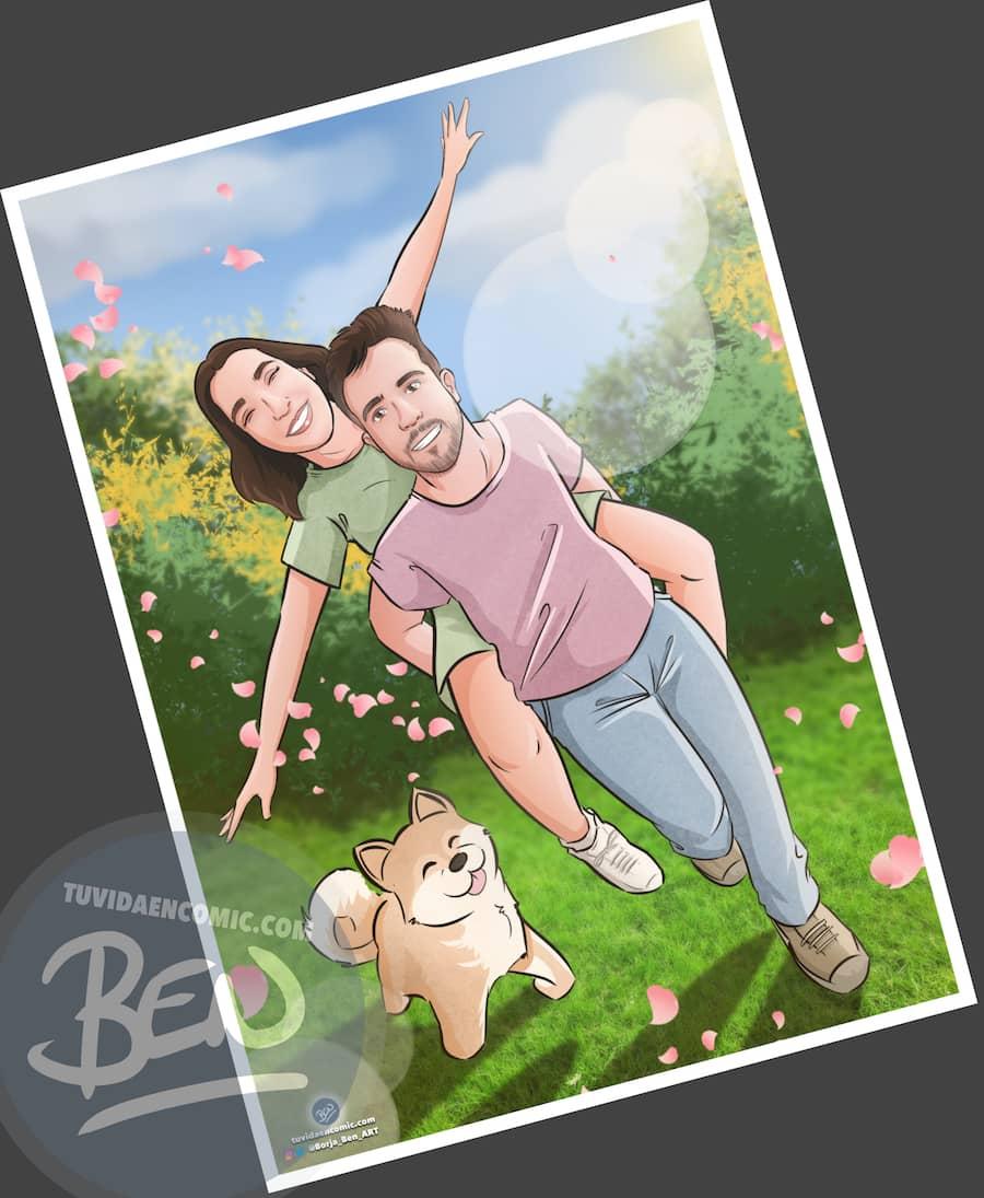 """Ilustración Regalo de cumpleaños personalizado – """"corriendo por el parque"""" - Caricatura Personalizada - 1"""