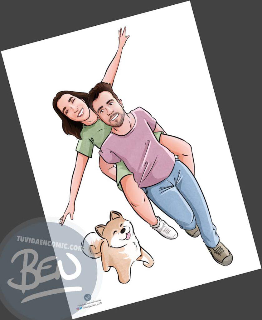 """Ilustración Regalo de cumpleaños personalizado – """"corriendo por el parque"""" - Caricatura Personalizada - 3"""