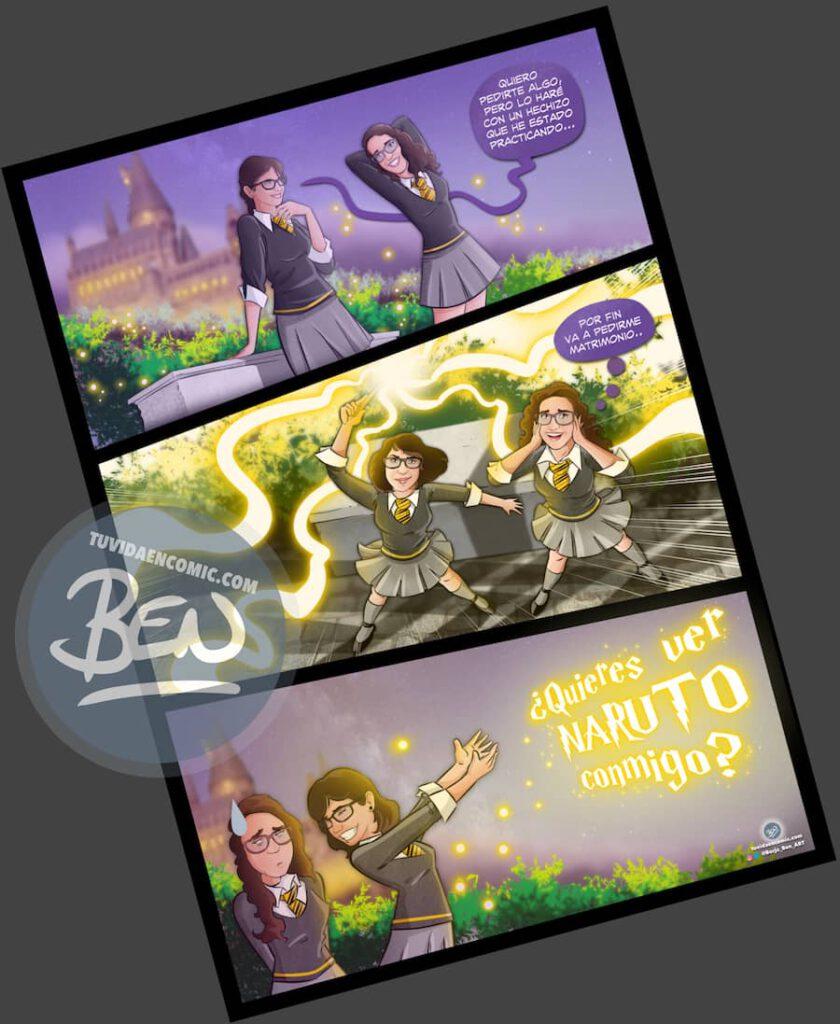 """Cómic personalizado – """"Magia, matrimonio y final inesperado"""" – Regalo de cumpleaños romántico y original - caricatura personalizada - 8"""