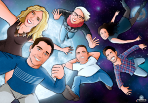 """Ilustración Regalo grupal personalizado y original – """"Nos vemos en la luna"""" – Caricatura personalizada grupal - tuvidaencomic.com - 2"""