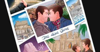 """Composición de ilustraciones – """"Dos años juntos"""" – Regalo de aniversario original y personalizado - tuvidaencomic.com - Cómic personalizado - Caricatura personalizada - 1"""