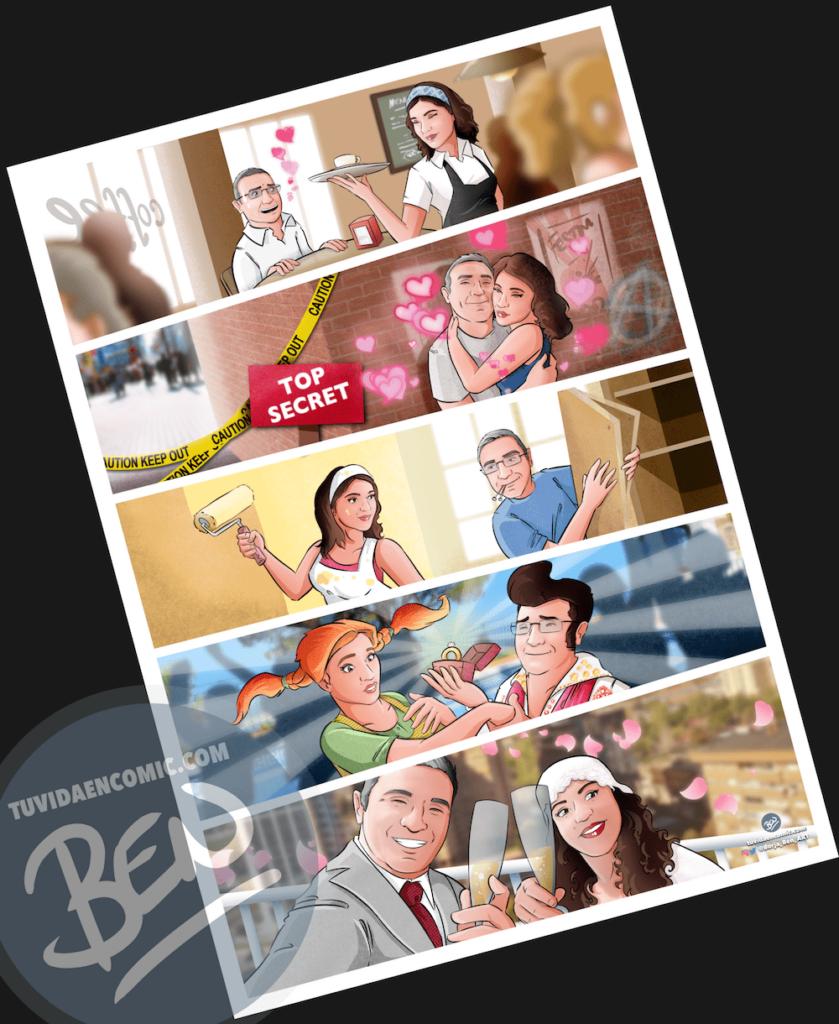 """Cómic Personalizado – """"Un café que terminó en boda"""" – Regalo de Boda original y personalizado - www.tuvidaencomic.com - 4"""
