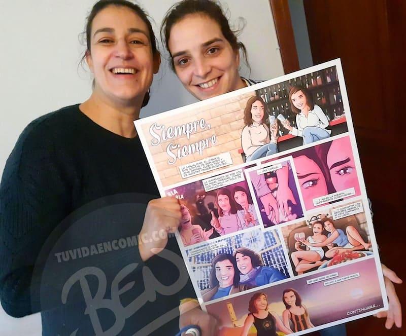 """Cómic Personalizado para colgar en la pared – """"Una mirada y una caricia"""" – Regalo de aniversario original y personalizado - www.tuvidaencomic.com - TESTIMONIOS 1-min"""