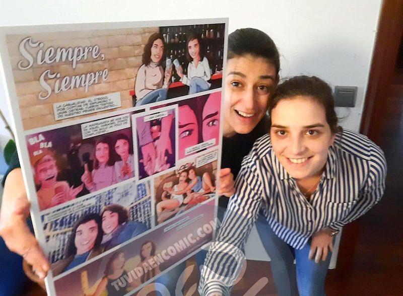 """Cómic Personalizado para colgar en la pared – """"Una mirada y una caricia"""" – Regalo de aniversario original y personalizado - www.tuvidaencomic.com - TESTIMONIOS 2-min"""
