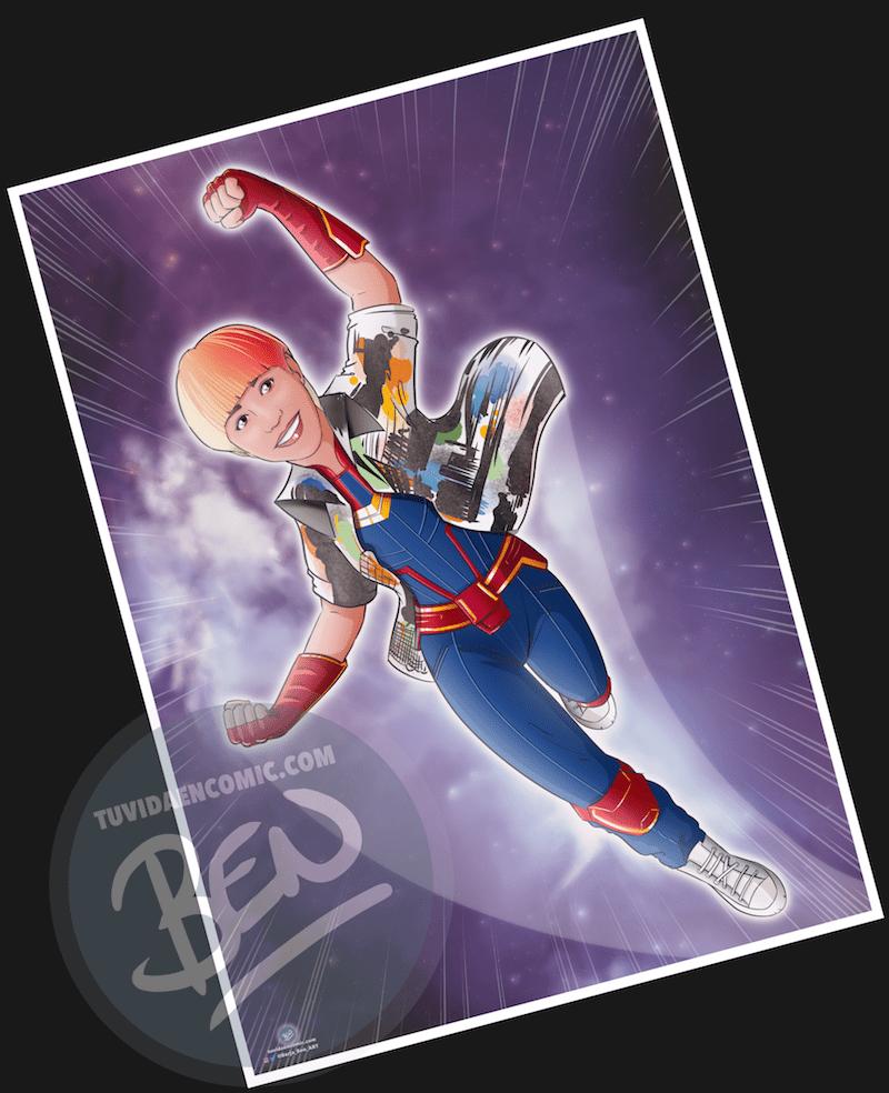 """Ilustración personalizada – """"Soy toda una Superheroína"""" – Caricatura personalizada – Caricatura de superhéroes - www.tuvidaencomic.com - 4"""